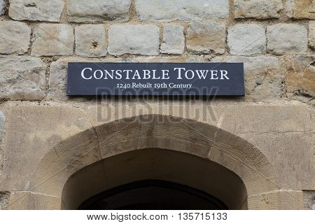 A view of the Constable Tower at the Tower of London. A total of 21 towers make up the historic Tower of London fortification.