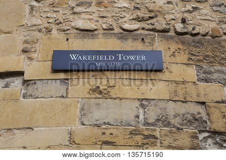 A view of the Wakefield Tower at the Tower of London. A total of 21 towers make up the historic Tower of London fortification.