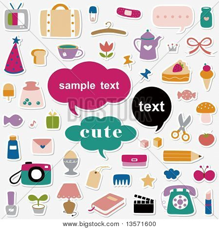 Vector Illustration:cute elements sticker collection