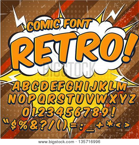 Creative high detail comic font. Alphabet in the style of comics, pop art. Letters and figures for decoration of kids.