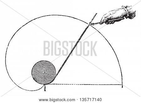 Plot turns of the eardrum of Faye, vintage engraved illustration. Magasin Pittoresque 1852.