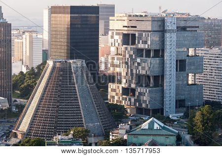Rio de Janeiro, Brazil - June 14, 2016: The headquarters of the state oil company Petrobras, along with the Metropolitan Cathedral, are landmarks in the Centro area of downtown Rio.