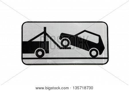 road sign of tow truck evacuator with reflective layer isolated on white background