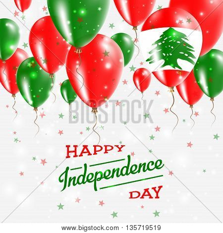 Lebanon Vector Patriotic Poster. Independence Day Placard With Bright Colorful Balloons Of Country N