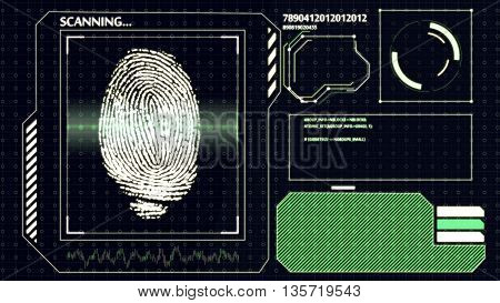 Scanning Human Fingerprint. Interface Hud. Technology Background.
