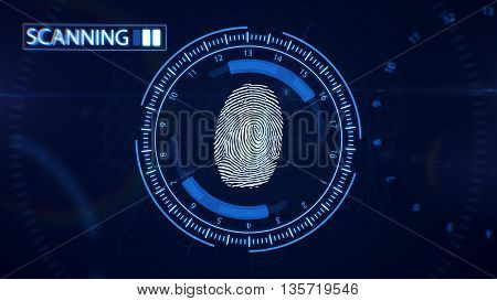 Abstract Fingerprint Scanning.technology Concept. Blue Color.