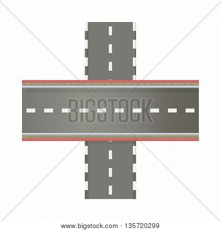Multilevel road intersection of freeways icon in cartoon style on a white background