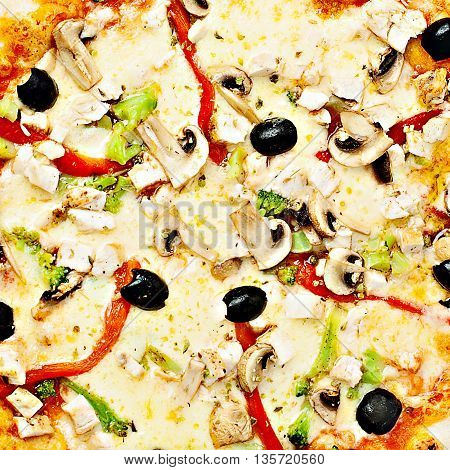 Pizza with Vegetable. Cheese Broccoli Pepper Mushroom and Olives. Food Background