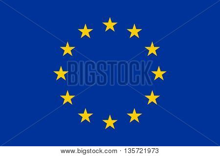 Flag of Europe European Union in correct proportions and colors