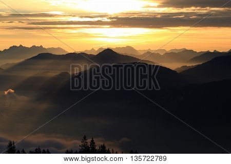 Sunset/sunrise In The Mountains
