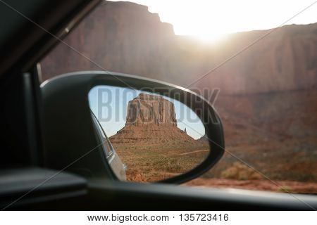 The mittens Mesa view from rear mirror at Monument Valley Navajo Tribal Park Arizona USA