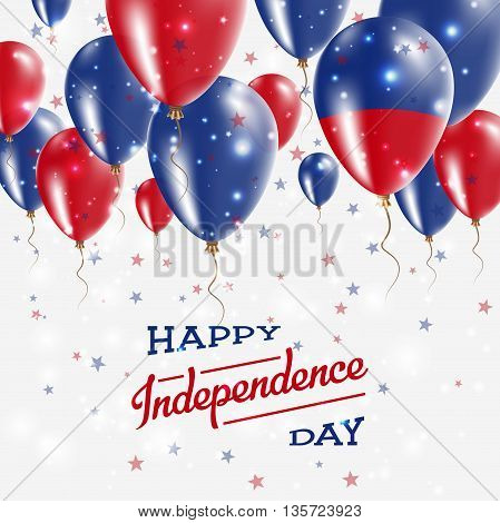 Haiti Vector Patriotic Poster. Independence Day Placard With Bright Colorful Balloons Of Country Nat