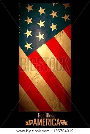 illustration of Grungy American Flag Background for Fourth of July, Independence Day of America