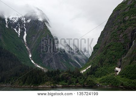 Image of steep mountains and mist-covered cliffs, with glacier ice and green forest on the mountains and water in the foreground.