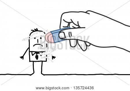 Big hand and  businessman - eraser