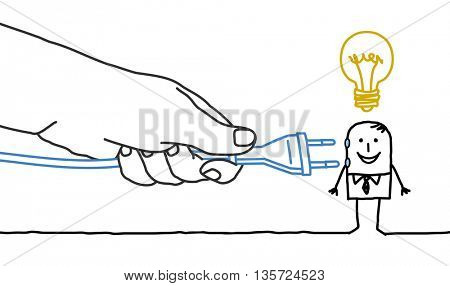 Big hand and  businessman - plug in