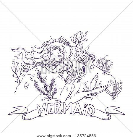 Vector Illustration of a Mermaid and Octopus King Under the Sea for Coloring, Doodle Cartoon Character