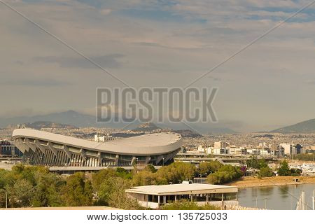 Athens, Greece 7 Jume 2016. Landscape View of Piraeus in Greece and the SEF stadium (stadium of piece and liberty)