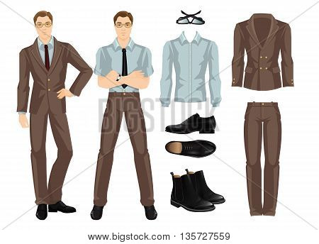 Vector illustration of business man or professor in official brown formal suit. Base wardrobe. Black formal shoes. Brown oxford shoes. Young man in glasses.
