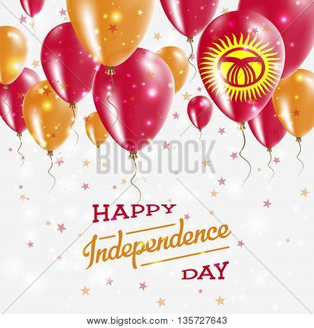 Kyrgyzstan Vector Patriotic Poster. Independence Day Placard With Bright Colorful Balloons Of Countr