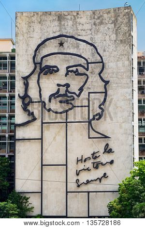 HAVANA,CUBA - JUNE 21,2015: Government building besides the Revolution Square in Havana  with a famous Che Guevara image and revolutionary slogan