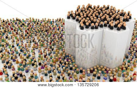 Crowd of small symbolic figures elevated group 3d illustration horizontal