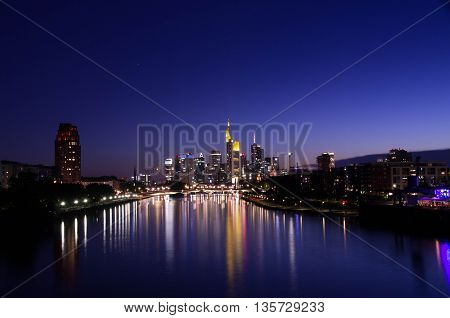 View of Frankfurt am Main skyline during sunset