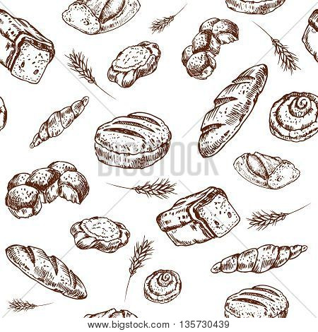Vintage bakery sketch style seamless pattern. Set of fresh bread. Hand drawn illustration of bread and bakery product. Bakery hand drawn backgrownd. Vector brown and white engraving illustration.