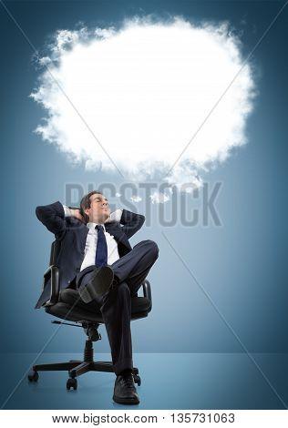 businessman sitting who dreams, white empty ballon