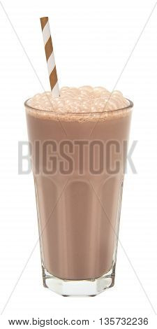 cold chocolate milkshake in a tall glass isolated on white background