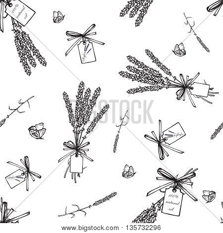 Vintage hand drawn lavender seamless pattern. Vector illustration. Lavender black bouquets background. Engraving illustration. Lavender herbal bouquets and label in vintage style.