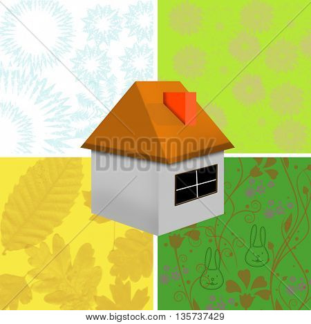 Green ecological house and four sessions