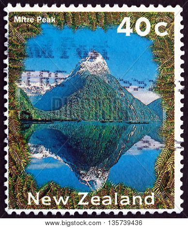 NEW ZEALAND - CIRCA 1995: a stamp printed in New Zealand shows Mitre Peak is an Iconic Mountain in the South Island of New Zealand circa 1995