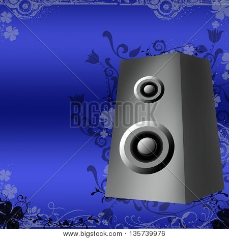 Speakers on blue background with floral grunge shapes