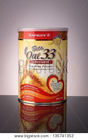 KUALA LUMPUR, MALAYSIA. MAY 31, 2016 : Sunfield's Beta Oat 33 with CoQ10 Oat Bran Powder 420g.
