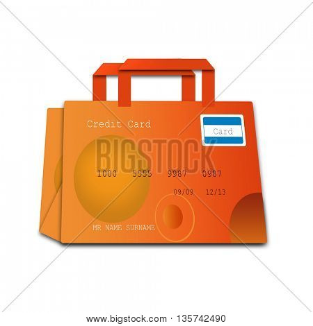 shopping bag made of credit cards