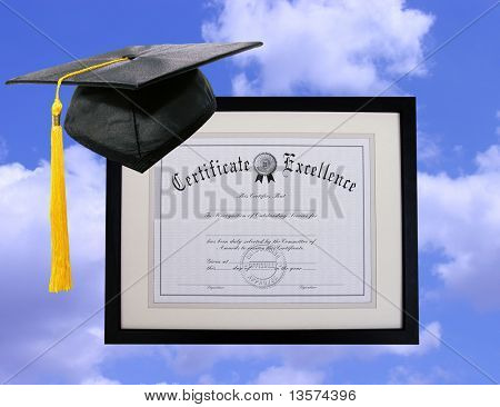 A certificate floating in the sky with cap and tassel