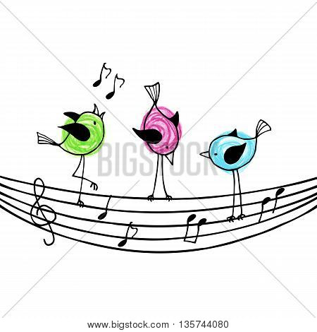 Three brightly colored birds on the stave with treble clef and notes. Vector illustration.