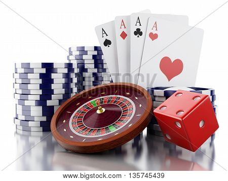 3d renderer image. Casino roulette wheel with chips poker cards and dice. Gambling games. Isolated white background.