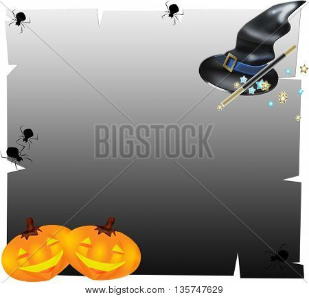 Halloween pampkins isolated on black background with spider web and witches' hat