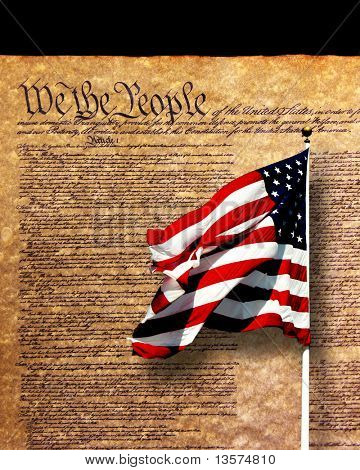 A photo of a historical document with a flag overlay