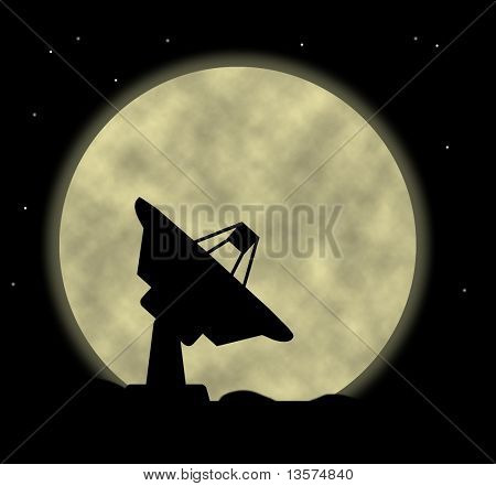 An Illustration Of A Satellite Dish against moon poster