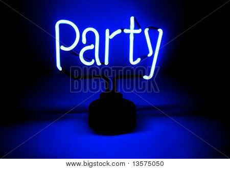 A photo of a party sign