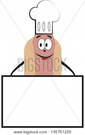 Hot Dog Cartoon Character with place for text