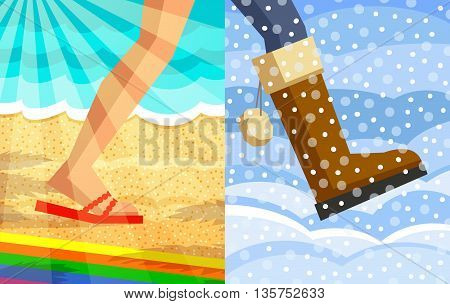 Legs of walking person. One foot with slipper, beach at background, sunrays at foreground; another foot with winter shoe, snowdrifts at background, snow at foreground. Step from summer to winter