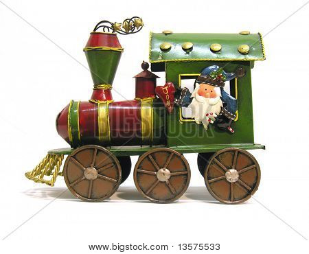 A photo of Santa in a toy train