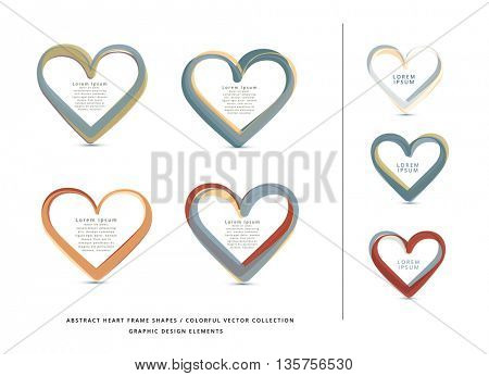 VECTOR ABSTRACT HEART FRAME ELEMENTS COLLECTION , NATURAL COLORS