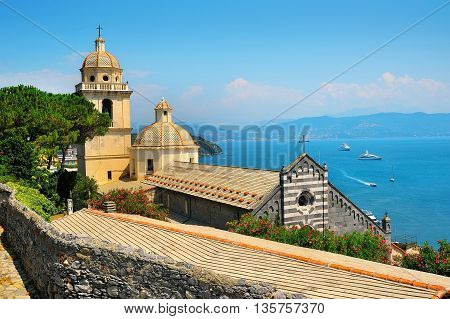 Portovenere church overlooking of the sea and yacht