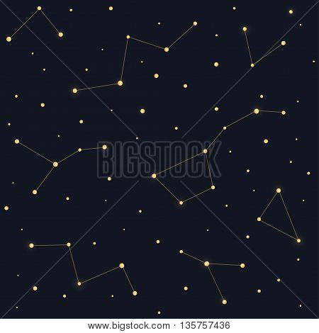 Constellations seamless pattern. Ursa Major Big Dipper Cassiopeia on dark night sky background.