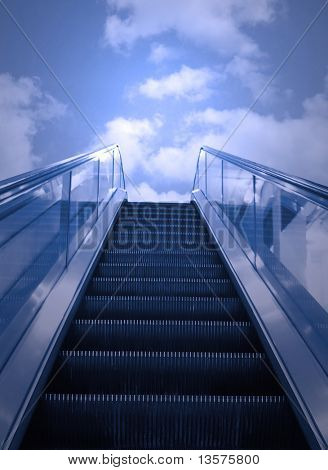 A photo of an escalator to the sky